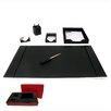Dacasso 1400 Series Econo-Line Leather Six-Piece Desk Set in Black