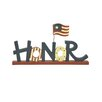 "Blossom Bucket ""Honor"" Letter Block with Flag On Base (Set of 2)"
