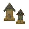 Blossom Bucket 2 Piece Heart and Butterfly House on Ruler Sculpture (Set of 2)