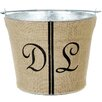 A Southern Bucket Personalized Double Wedding Stripe Burlap Bucket