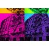 Fluorescent Palace Pop Cityscape Graphic Art on Canvas