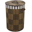 ORE Furniture Checkered Round Folding Bamboo Laundry Basket with Handle