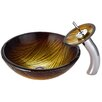 Kraus Midas Glass Vessel Sink with Waterfall Faucet