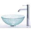 "Kraus Broken Glass 14"" Vessel Sink and Ramus Faucet"