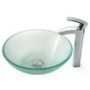 Kraus Frosted Vessel Sink and Visio Bathroom Faucet