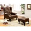 Hokku Designs Barnett Wingback Chair and Ottoman