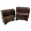 International Caravan Seville Faux Leather Indoor Storage Trunks (Set of 4)