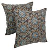 Blazing Needles Indian Floral Medallion Hand-embroidered Cotton Throw Pillow (Set of 2)