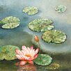 Portfolio Canvas Decor Water Lilly Pink square  by W.Cullen Painting Print on Wrapped Canvas