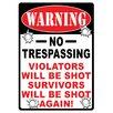 River's Edge Products Warning No Trespassing Tin Sign Wall Art