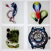 """Radiant Art Studios X-ray Designs 4 Piece """"Man Cave"""" Frosted Glass Coasters Set"""