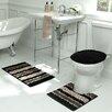 Bath Frieze Deliso Stripe Shag 3 Piece Bath Set