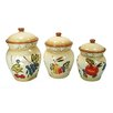 D'Lusso Designs 3-Piece Ceramic Fruit Canister Set