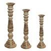 EC World Imports Urban Designs 3 Piece Wood Candlestick Set