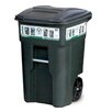 Toter Residential Heavy Duty Two Wheeled Trash Container Cart with Attached Lid