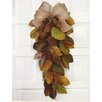 Floral Home Decor Magnolia Leaf Swag with Burlap Bow