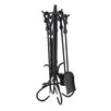 Uniflame Corporation 4 Piece Heavy Crook Handle Wrought Iron Fire Tool Set With Stand