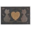 A1 Home Collections LLC Twin Heart Cat Doormat