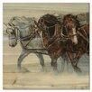 WGI-GALLERY Winter Wind Horses Painting Print on Wood