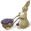 Boston International Lavender Rabbit Wheelbarrow Statue