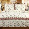 Home Sensation Rose Chic Reversible Cotton 3 Piece Quilt Set