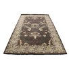 ZallZo Hand Tufted Hibiscus Wool Brown/ Beige Area Rug