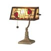 "Dale Tiffany Henderson Bankers 14"" H Table Lamp with Rectangular Shade"
