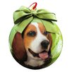 E&S Pets Beagle Christmas Ornament Shatter Proof Ball (Set of 2)