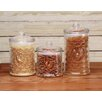 Circle Glass Rooster Design 3 Piece Canister Set