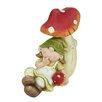 Northlight Seasonal Young Girl Gnome Under a Mushroom Garden Statue