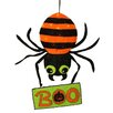 Northlight Seasonal Striped LED Creepy Spider with Boo Sign Hanging Halloween Decoration