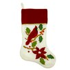 Northlight Seasonal Embroidered Cardinal Bird Velveteen Christmas Stocking with Cuff