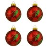 Northlight Seasonal Holly Berry Design Glass Ball Christmas Ornament (Set of 4)