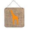 Caroline's Treasures Giraffe Burlap and Orange Aluminum Hanging Painting Print Plaque