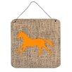 Caroline's Treasures Horse Burlap and Orange Aluminum Hanging Painting Print Plaque