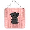 Caroline's Treasures Checkerboard Pink Black Labrador Hanging Graphic Art Plaque
