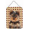 Caroline's Treasures Fall Leaves Yorkie Puppy / Yorkshire Terrier Hanging Graphic Art Plaque