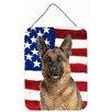 Caroline's Treasures Usa American Flag with German Shepherd Hanging Painting Print Plaque