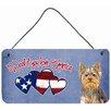 Caroline's Treasures Woof If You Love America Yorkie Yorkshire Terrier Hanging Painting Print Plaque