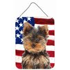 Caroline's Treasures Usa American Flag with Yorkie Puppy / Yorkshire Terrier Hanging Painting Print Plaque