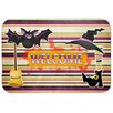 Caroline's Treasures Witch Costume and Broom on Stripes Halloween Kitchen/Bath Mat