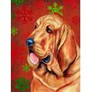 Caroline's Treasures Bloodhound Red and Green Snowflakes Holiday Christmas 2-Sided Garden Flag
