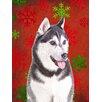 Caroline's Treasures Red Snowflakes Holiday Christmas Alaskan Malamute House Vertical Flag