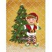 Caroline's Treasures Santa's Elf and Christmas Tree 2-Sided Garden Flag