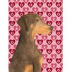 Caroline's Treasures Doberman Hearts Love and Valentine's Day Portrait 2-Sided Garden Flag