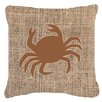 Caroline's Treasures Crab Burlap Indoor/Outdoor Throw Pillow