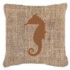 Caroline's Treasures Sea Horse Burlap Indoor/Outdoor Throw Pillow