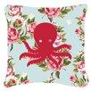 Caroline's Treasures Octopus Shabby Elegance Blue Roses Indoor/Outdoor Throw Pillow