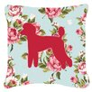 Caroline's Treasures Poodle Shabby Elegance Blue Roses Indoor/Outdoor Throw Pillow