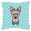 Caroline's Treasures Checkerboard Yorkie Puppy Indoor/Outdoor Throw Pillow